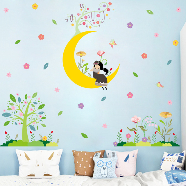 cartoon moon girl wall stickers baby room kids room nursery eco