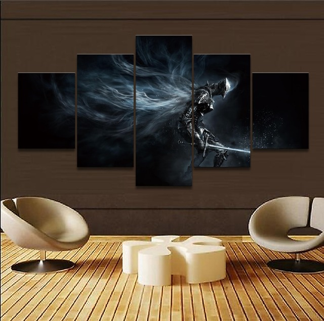 Canvas Pictures Home Decor Wall Art Modular Poster 5 Pieces Game Dark Souls III Boreal Outrider Knight Paintings For Living Room 1