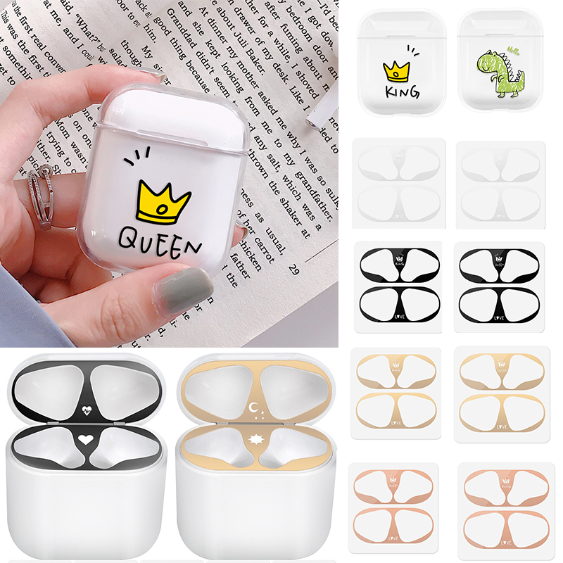 Cute Clear Cover For Airpods Dust Guard Stickers For Airpods Apple 1 2 Skin Headphones Anti-lost Scratch-proof Accessories