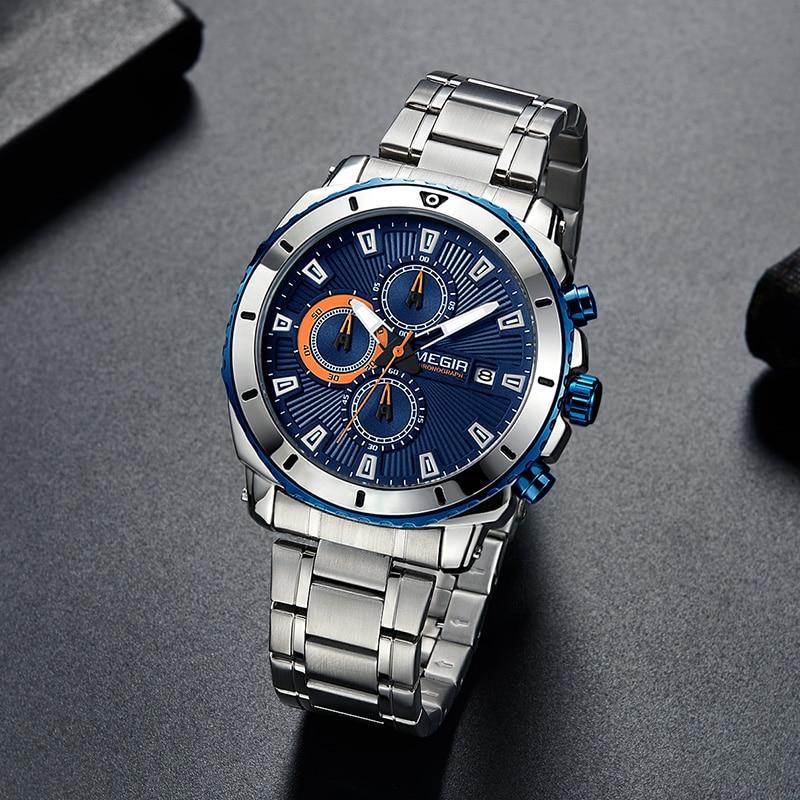 Image 4 - MEGIR Chronograph Quartz Men Watch Luxury Brand Stainless Steel Business Wrist Watches Men Clock Hour Time Relogio MasculinoQuartz Watches   -
