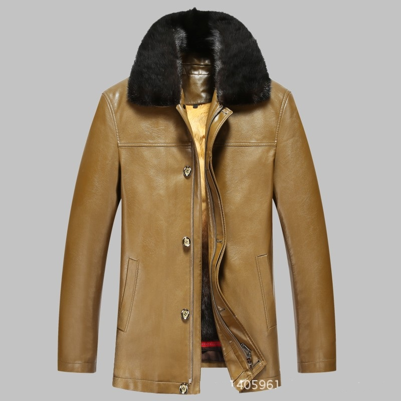 Новинка 817, модная зимняя одежда, мужская длинная куртка, кожаное пальто, мужское кожаное пальто, зимняя меховая куртка из кроличьего меха с ... - 6
