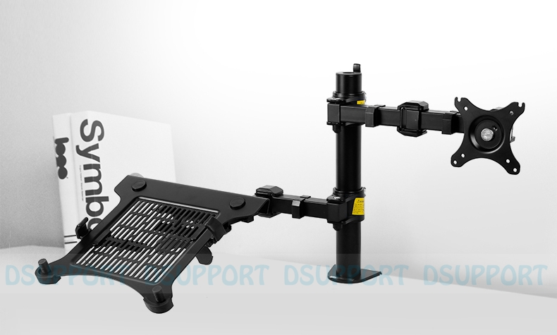 D1F2 Full Motion Desktop 10-15.6 Laptop Mount & 10-27 Monitor Mount Holder LCD Dual Arm Desk Stand Max Support 10KG Each Arm