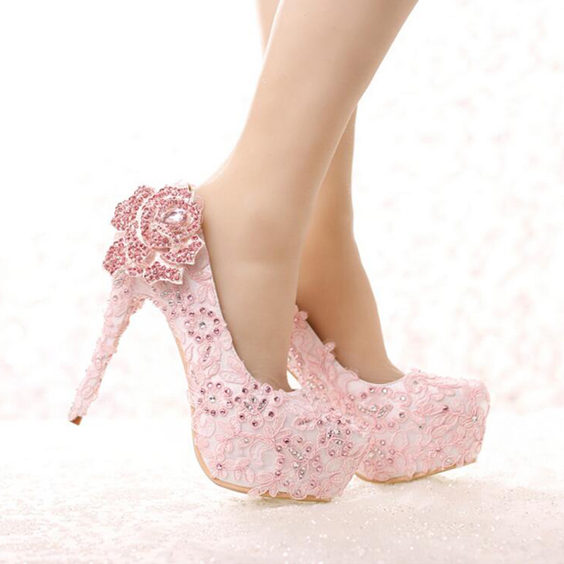 ff35a9649189 Aliexpress.com   Buy Fashion Rhinestone Rose Flower High Heel Wedding Shoes  Pink Lace Bride Shoes Platform Round Toe Princess Pumps Prom Shoes from  Reliable ...