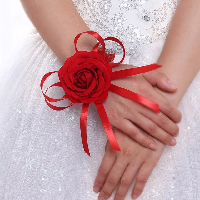 Bride Artificial Flowers Red Rose Bride Hand Flower Bridesmaid Sisters Wrist Flowers for Wedding Decoration Bridal Prom