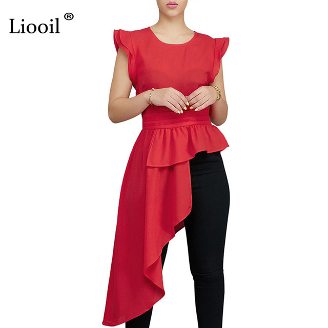 1f3d920daba0de Liooil Black Red Ruffle T Shirts Women Top Summer Sexy Club Butterfly Sleeve  O Neck Party