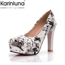 KARINLUNA 2019 big size 33-44 round toe platform flower printing women shoes fashion high heels party wedding pumps woman