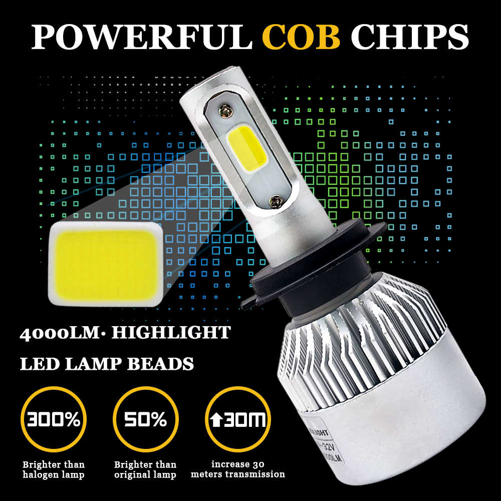 H11 Led H1 H7 H4 H3 H8 H27 HB3 HB4 9005 9006 881 LED פנס הנורה 72W 8000LM 6500k אוטומטי רכב מנורת ערפל נורות 12V 24V