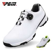 цена на Authentic PGM Golf Shoes Men Waterproof Breathable Anti-skid Shoes Knob Buckle Sports Shoes Spiked Nail Training Sneakers XZ095