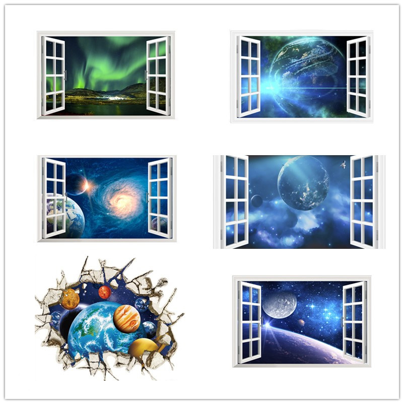 Outer space wall stickers planet galaxy home decor kids for Decor outer space