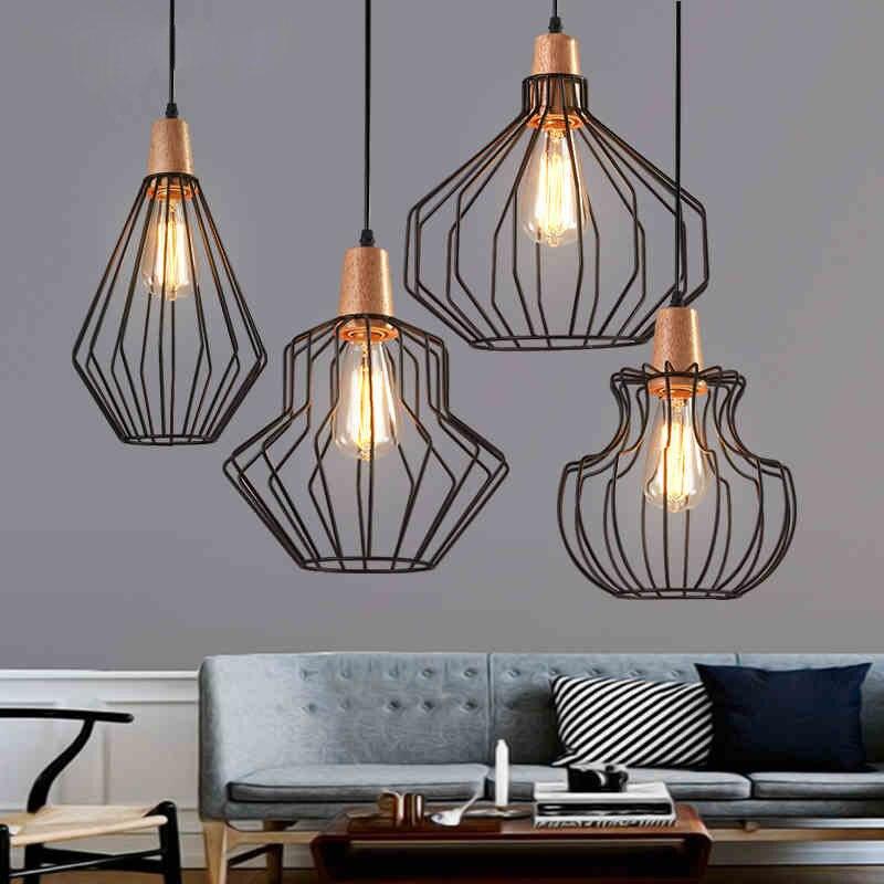 Lumière pendante Antique de Cage de fil en laiton, lumières pendantes noires de Cage à oiseaux rétro scandinave de fer avec l'ampoule chaude menée de café