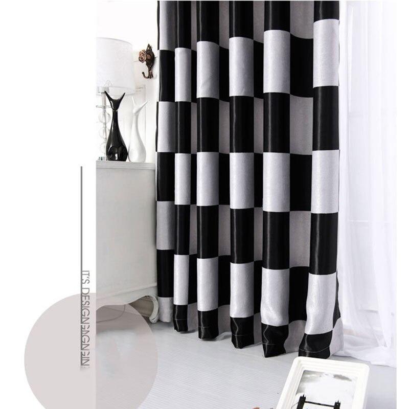 style mediterraneen moderne rideau noir et blanc fenetre stores plaid rideaux occultants maison cuisine rideaux b16201