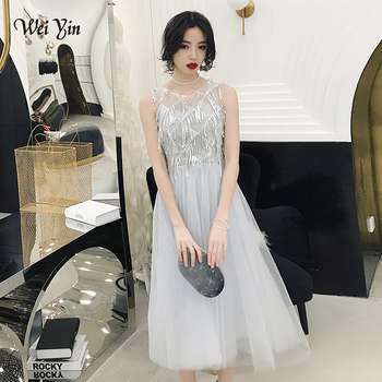 wei yin 2019 Gray Plus Size Evening Dresses Elegant O-Neck Tassel Tulle Formal Evening Gown Party Dress Robe De Soiree WY1682