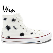Wen Original Design Custom Shoes Hand Painted Sneakers Bullet Hole Men Women's High Top White Canvas Sneakers Birthday Gifts
