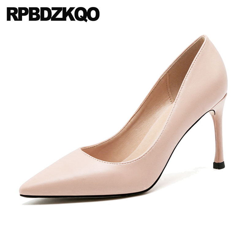 3 Inch Medium Heels Nude Pointed Toe Classic Size 4 34 Italian Formal Women High Pumps Office Shoes Wine Red Thin 2018 Court