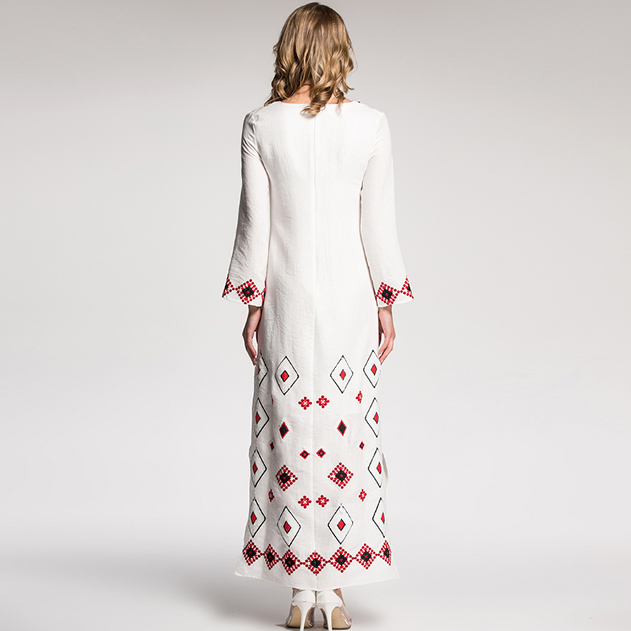 Aeleseen 빈티지 vestido 2018 가을 겨울 패션 전체 슬리브 스팽글 자수 v 목 고품질의 흰색 긴 드레스 새로운-에서드레스부터 여성 의류 의  그룹 3