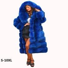 Parkas Fur jacket new 2018 imported imitation mink fox fox coat blue cross stripe gorgeous abundance new fur coat woman 10XL