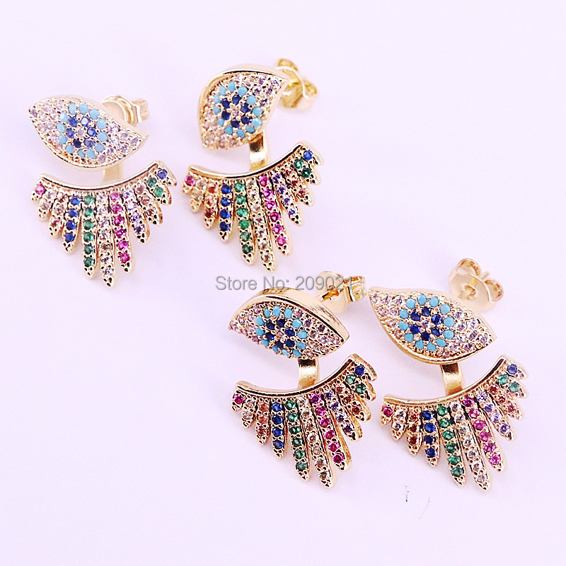 5Pairs New Trendy Cubic Zirconia Lucky Eye Earrings For Women with Rainbow CZ Earrings Jewelry Gift