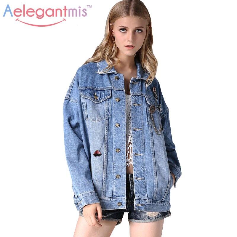 Aelegantmis Autumn Loose Oversized Denim Jacket Women 2016 Fashion  Boyfriend Female Jeans Jacket Fall Casual Coat For Ladies-in Basic Jackets  from Women s ... ee929df624