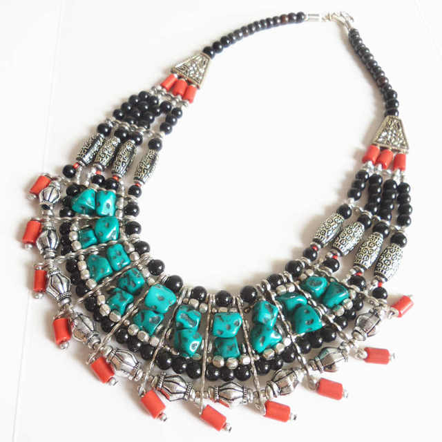 Multi-layer Beaded Simulated Turquoises Necklace