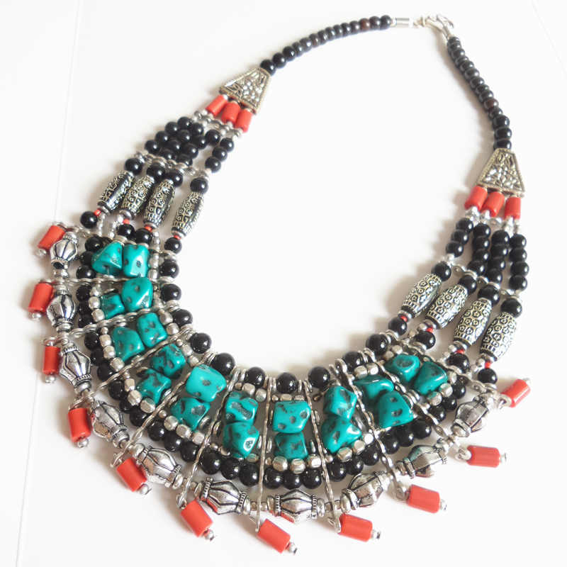 TNL575 Tibetan jewelry Multi-layer Beaded Necklace Simulated Turquoises Nuggets Lampwork Beads from Nepal