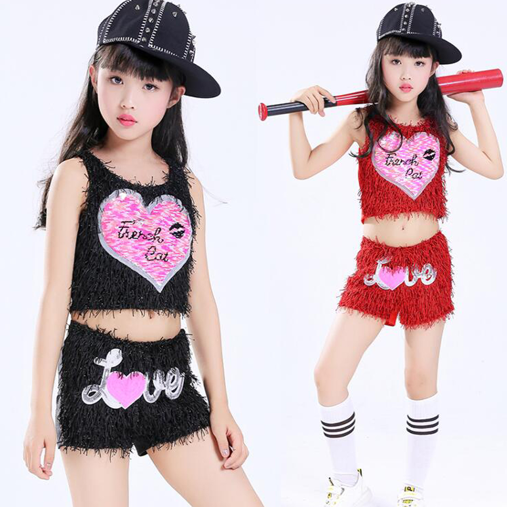 Children Jazz Dance Costumes Tops+Pants Girls Dance Sequined Party Show Clothes Kids Modern hip hop Stage wear Outfits