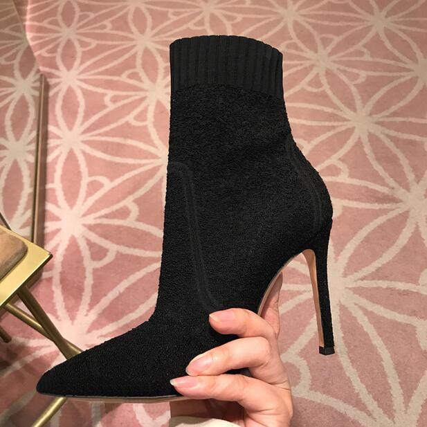 Sexy Black Sock Ankle Boots For Women Pointed Toe Thin Heels Short Boot Slim Fit Tight High Boots Slip-on Fashion Lady Shoes fashionable sexy oblique shoulder slim tight dress black green l page 9