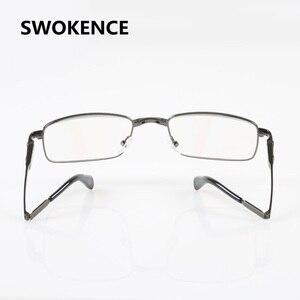 Image 4 - SWOKENCE الراقي ماركة سبائك الإطار مكافحة التعب الراتنج العدسات للطي نظارات للقراءة النساء الرجال طوي الشيخوخي نظارات R116