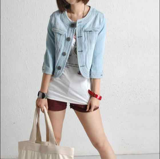 Spring Summer Vintage Cropped Denim Jacket Short Cardigan Coat Jeans Jacket Women Basic Jackets JR54