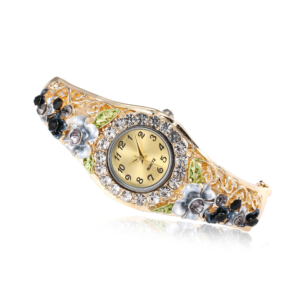 Watch Women Watches Relogio Feminino Fashion Woman Round Full Diamond Bracelet Watch Analog Quartz Movement Wrist Watch femme