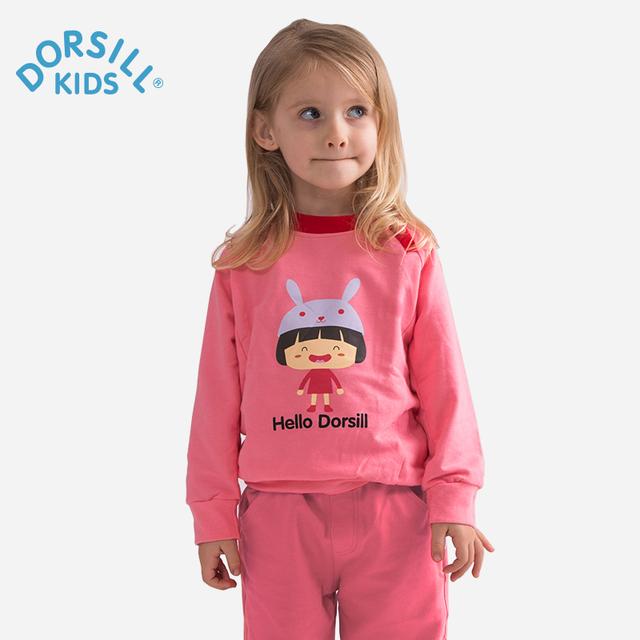 Girl clothing dorsill 2017 nueva primavera y el otoño de la manera del o-cuello de la manga completa sudaderas boy algodón de cuatro colores sudaderas con capucha para niños