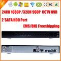 Full HD de 24 canais 1080 P CCTV NVR 32CH 960 P NVR 2 SATA HDD portas XMEYE ONVIF P2P detecção de movimento HDMI VGA CCTV gravador de vídeo