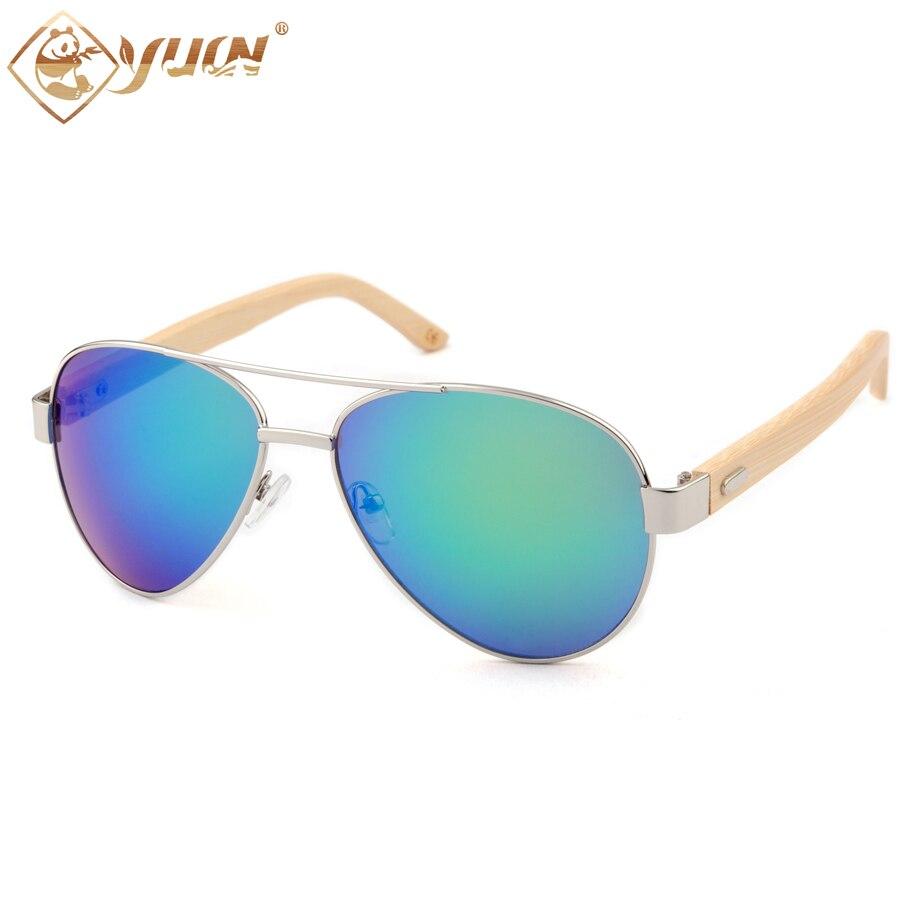 New 2018 classic aviation sunglasses handmade original bamboo temples metal frame sun glasses for women and men