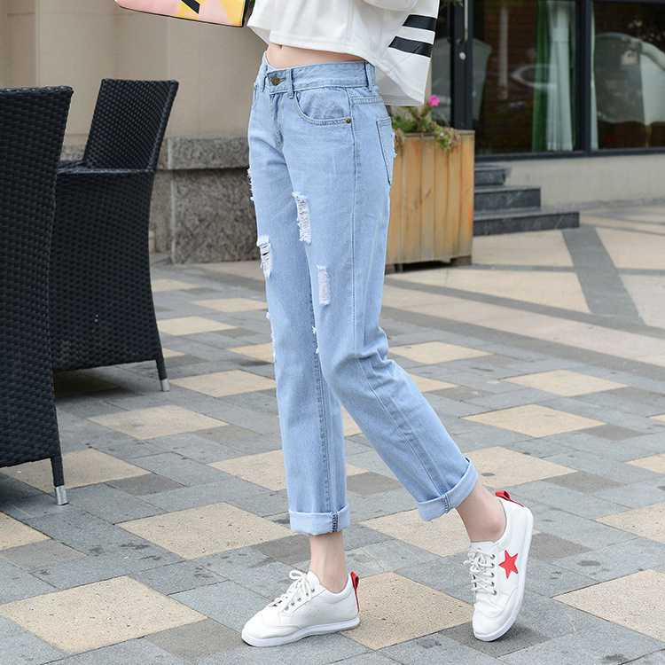 #1320 Ankle-length Ripped jeans for women Fashion Autumn 2016 Cotton Slim fit Vaqueros mujer Pantalon femme