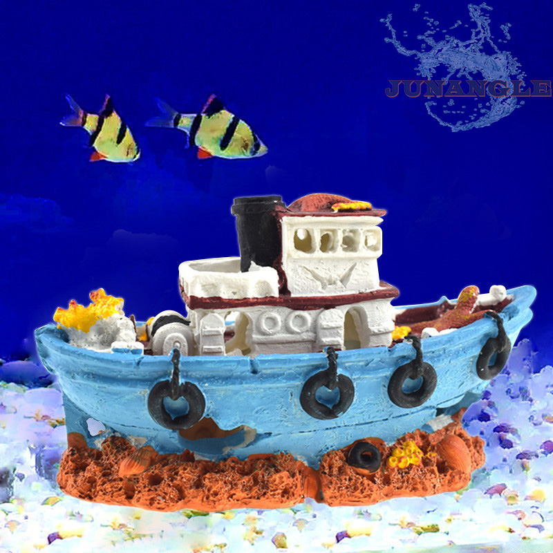 Pirate Ship Aquarium Decoration Aquarium Fish Tank Decoration Fishing Boat Shipwreck Fishing Boat Simulation Resin