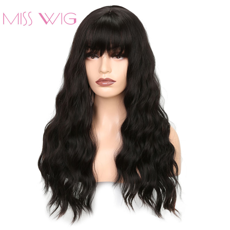 MISS WIG Long Wavy Wigs for Black Women African American Synthetic Hair Grey Brown Wigs with Bangs Heat Resistant Wig(China)
