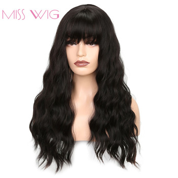 MISS WIG Long Wavy Wigs for Black Women African American Synthetic Hair Grey Brown Wigs with Bangs Heat Resistant Wig 2
