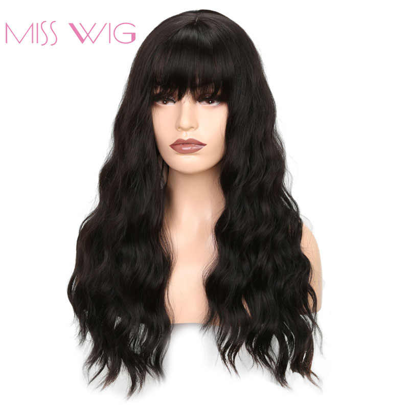 MISS WIG Long Wavy Wigs for Black Women African American Synthetic Hair Grey Brown Wigs with Bangs Heat Resistant Wig