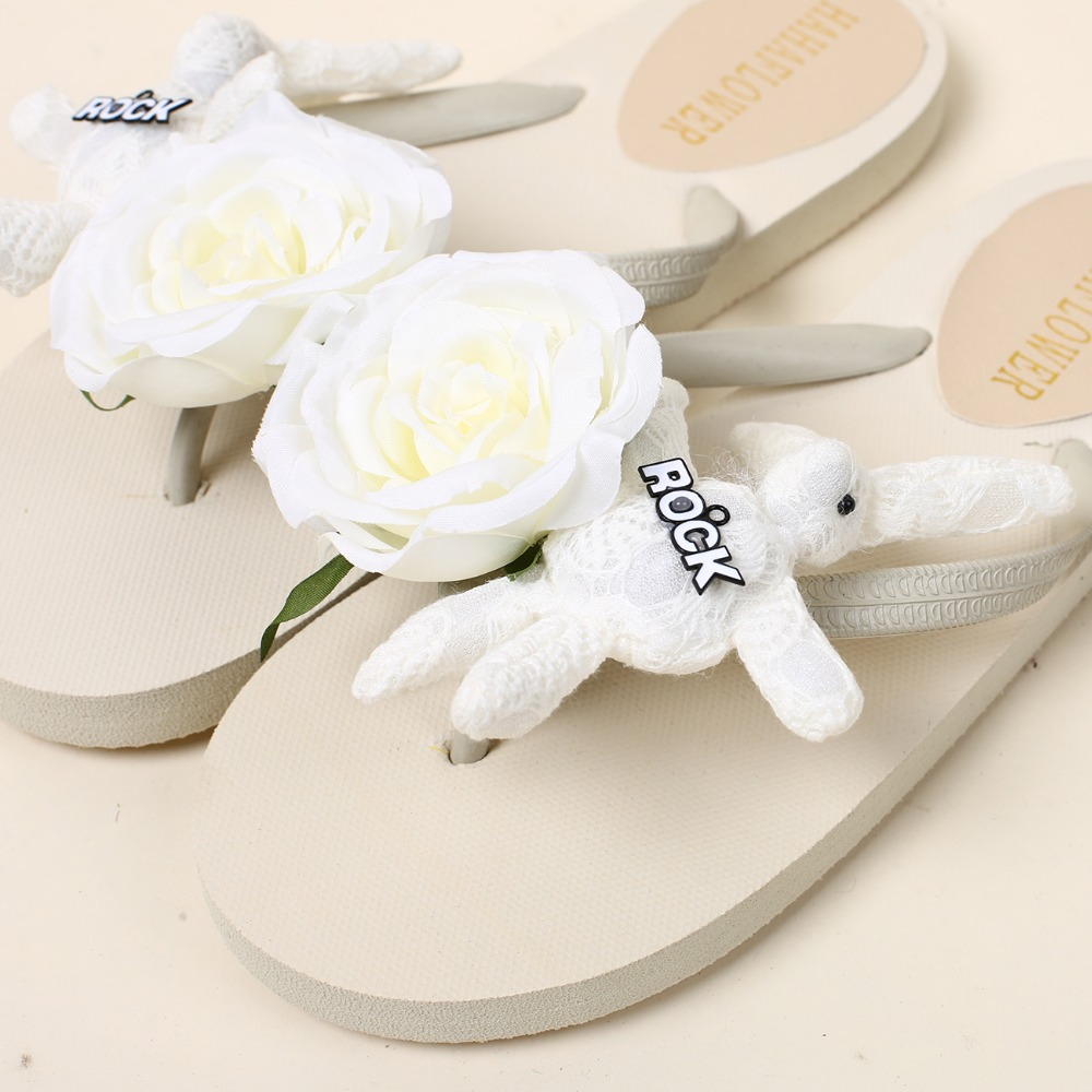 Hahaflower2017 New White Rose Rabbit Flip Flops Flat Sandals Women