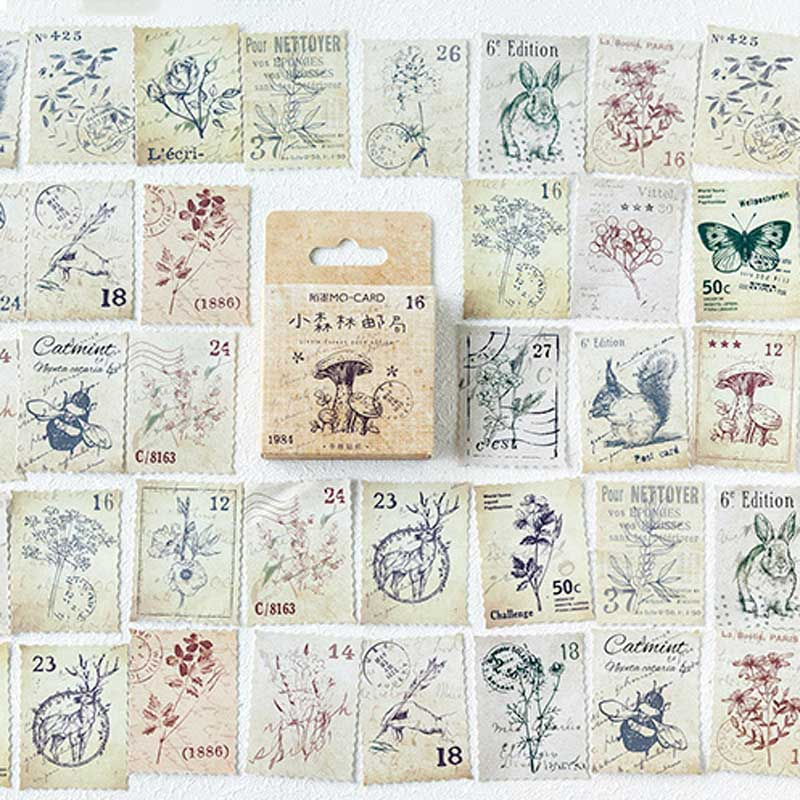 46 Pcs/box Vintage Forest Philately Stamp Stickers Scrapbooking Stationery Cute Animal Plant Journal Decor Flake Retro Sticker