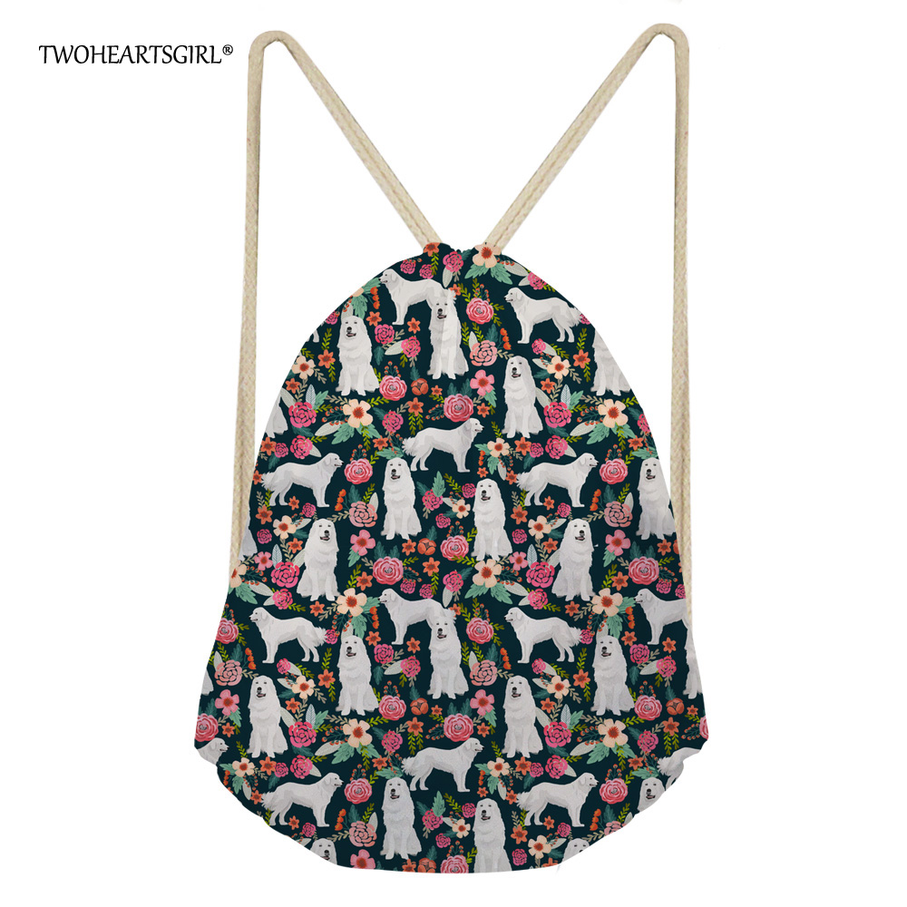 Twoheartsgirl Flower Pyrenees Dog Drawstring Bag Polyester Female Women String Sack Beach Travel Backpack Foldable Shopping Bag