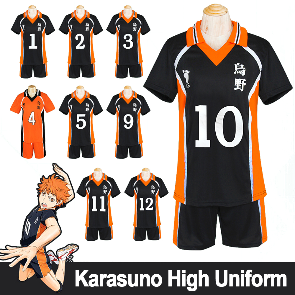 Haikyuu Karasuno High Team Uniform Shouyou Hinata Cosplay Volleyball Jerseys Japanese School Uniform Volleyball Club Wear