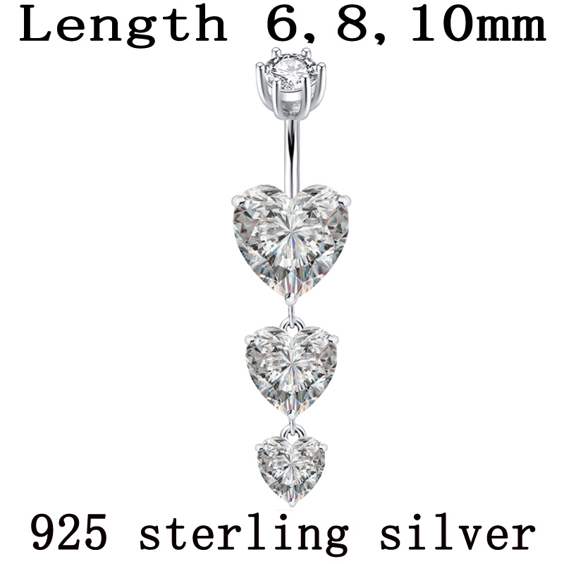CZ Crystal Stone Long Pear and Round with Teardrop Gems Dangling 925 Sterlingl Silver Belly Ring Body Jewelry