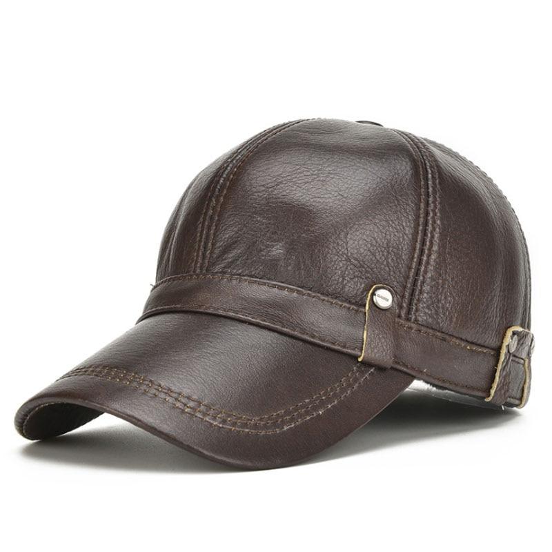[AETRENDS] Bőrkabát férfi 100% -os bőr baseball sapka fülekkel Flap apu sapka Bone Masculino férfi téli sapka Trucker sapka Z-5304