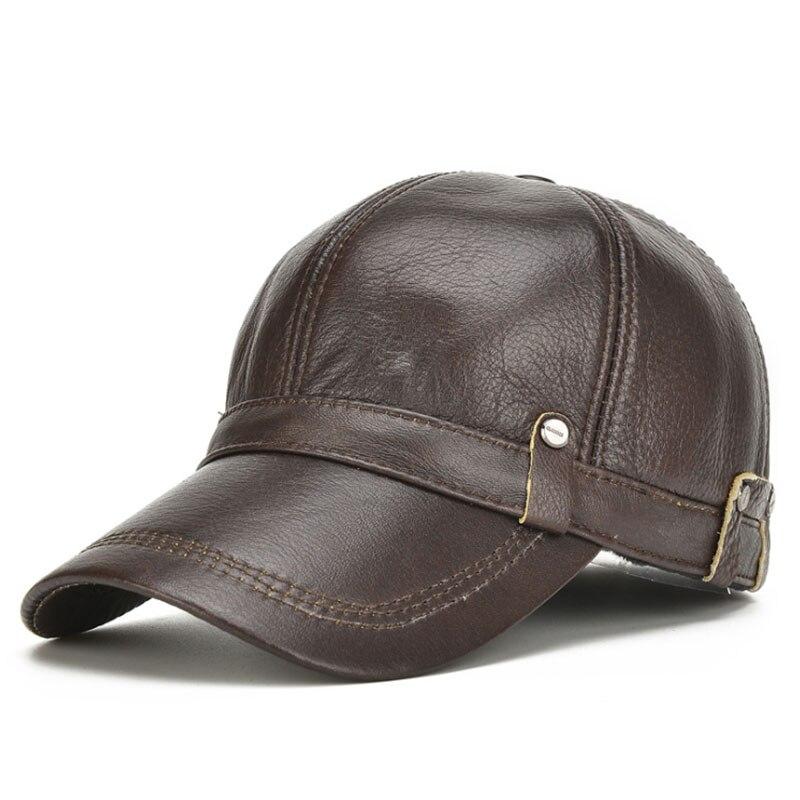 [AETRENDS] Leather Hat Men 100% Leather   Baseball     Cap   with Ears Flap Dad Hats Bone Masculino Mens Winter   Caps   Trucker   Cap   Z-5304