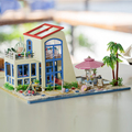 DIY Wooden Miniature 3D Handcraft Model Kits  & furniture show pictures english instruction & blue sea blue sky dolls house