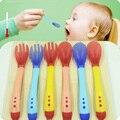 Temperatura Sensing Colher e Garfo bebê Talheres Alimentação de Segurança Silicone Feeder Utensílios Colher de Alimentação Do Bebê Talheres