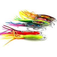 HENGJIA 6PCS 14cm 42g hooks ABS plastic fishing lures octopus squid jig beard fishing baits pike bass pesca fishing tackles