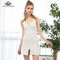 Single-breasted vest dress 2017 primavera e verão novas mulheres europeias e americanas magro malha de algodão dress