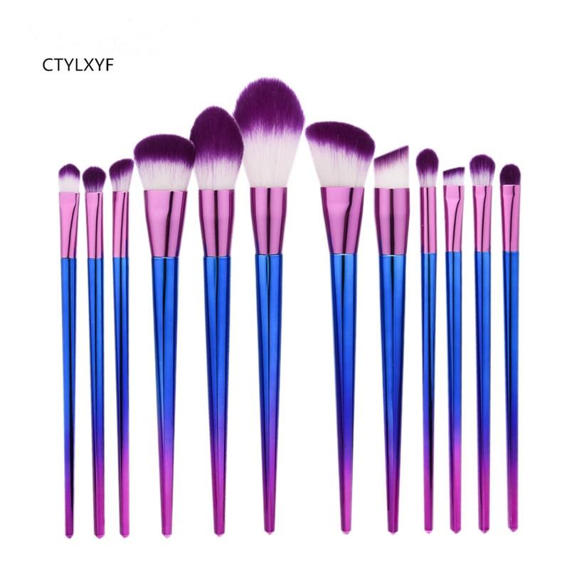 12Pcs CTYLXYF Colourful Professional Cosmetic Makeup Brush Women Foundation Eyeshadow Eyeliner Lip Brand Make Up Eye Brushes Set