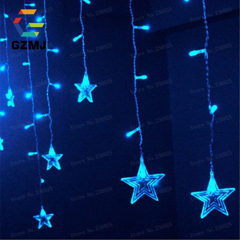 3.5m Stars 9Color Waterproof Waterfall LED String Lights Outdoor Wedding  Decorations Holiday Festival Party Fairy